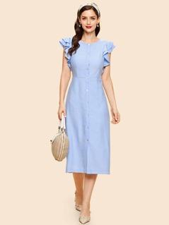 Layered Ruffle Armhole Button Up Dress