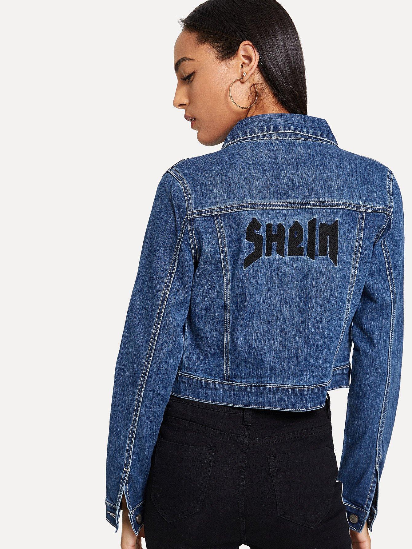 Купить Вышитая Задняя Джинсовая Куртка Урожая, Kary, SheIn