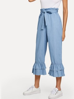 Layered Ruffle Hem Culotte Jeans with Belt