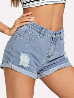 Cuffed Hem Ripped Denim Shorts