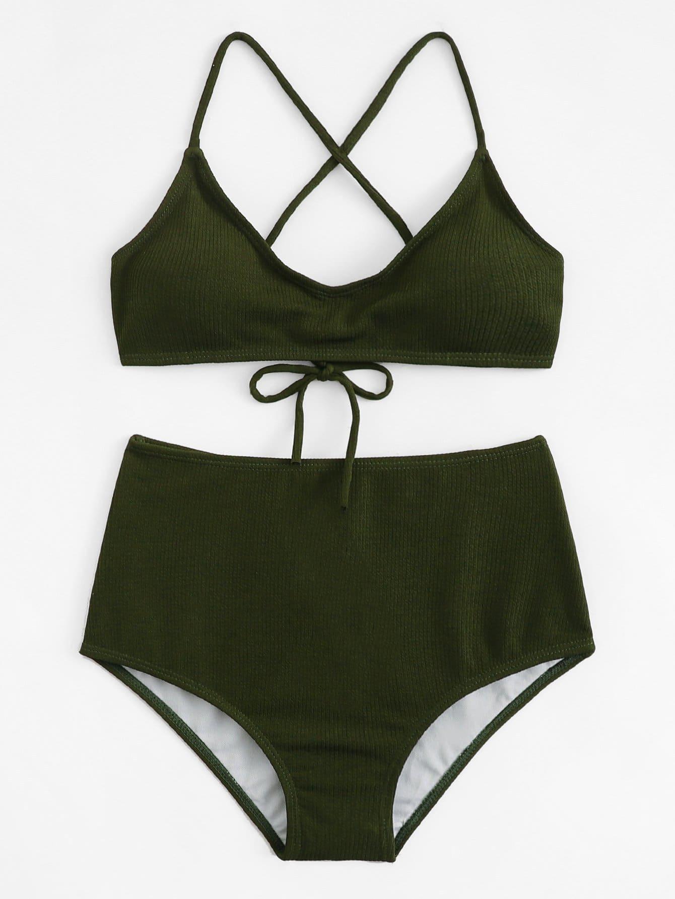 Solid Rib Knit Bikini Set