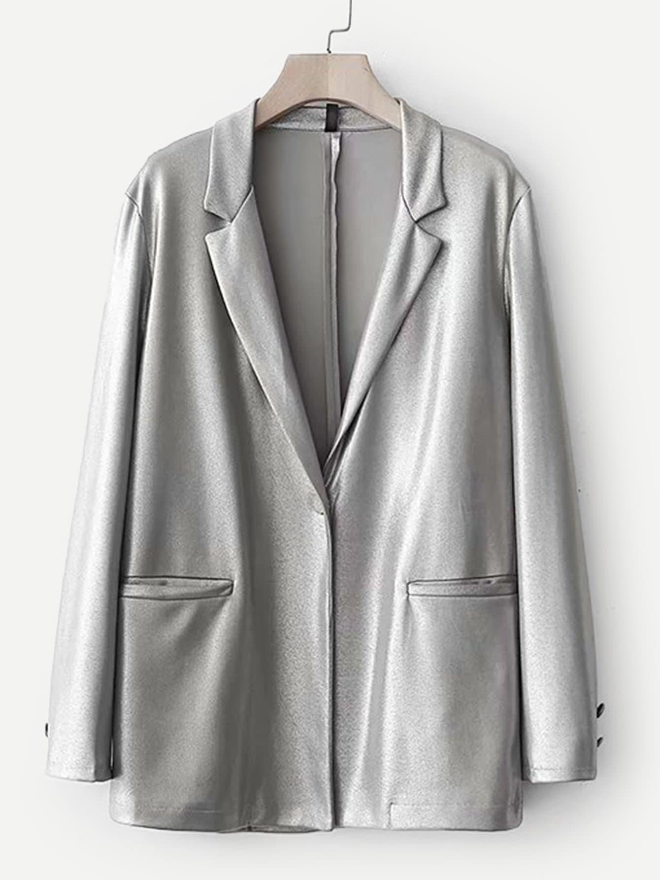 Купить Пиджак металлического цвета и со скрытого кармана, null, SheIn