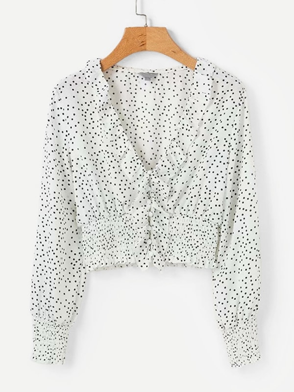 цена Ruffle Trim Spot Crop Blouse