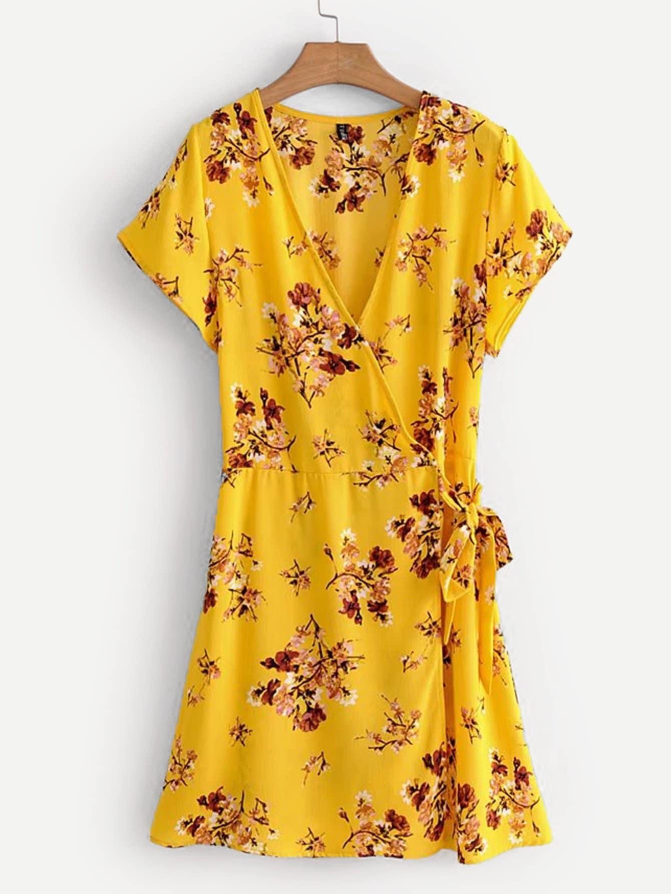 Купить Общое ситцевое облегающое платье, null, SheIn