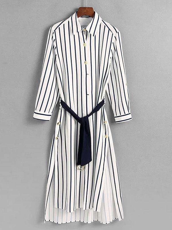 все цены на Striped High Low Slit Side Shirt Dress онлайн