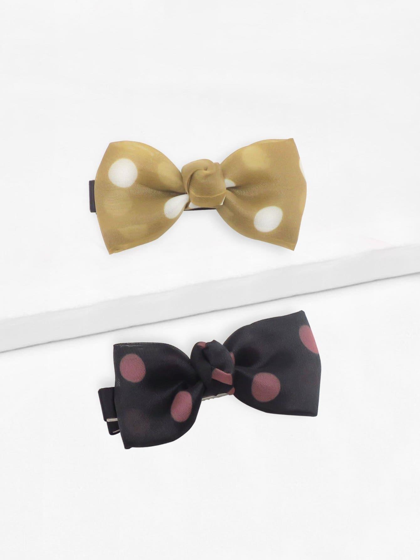 Polka Dot Bow Shaped Hair Clip 2pcs
