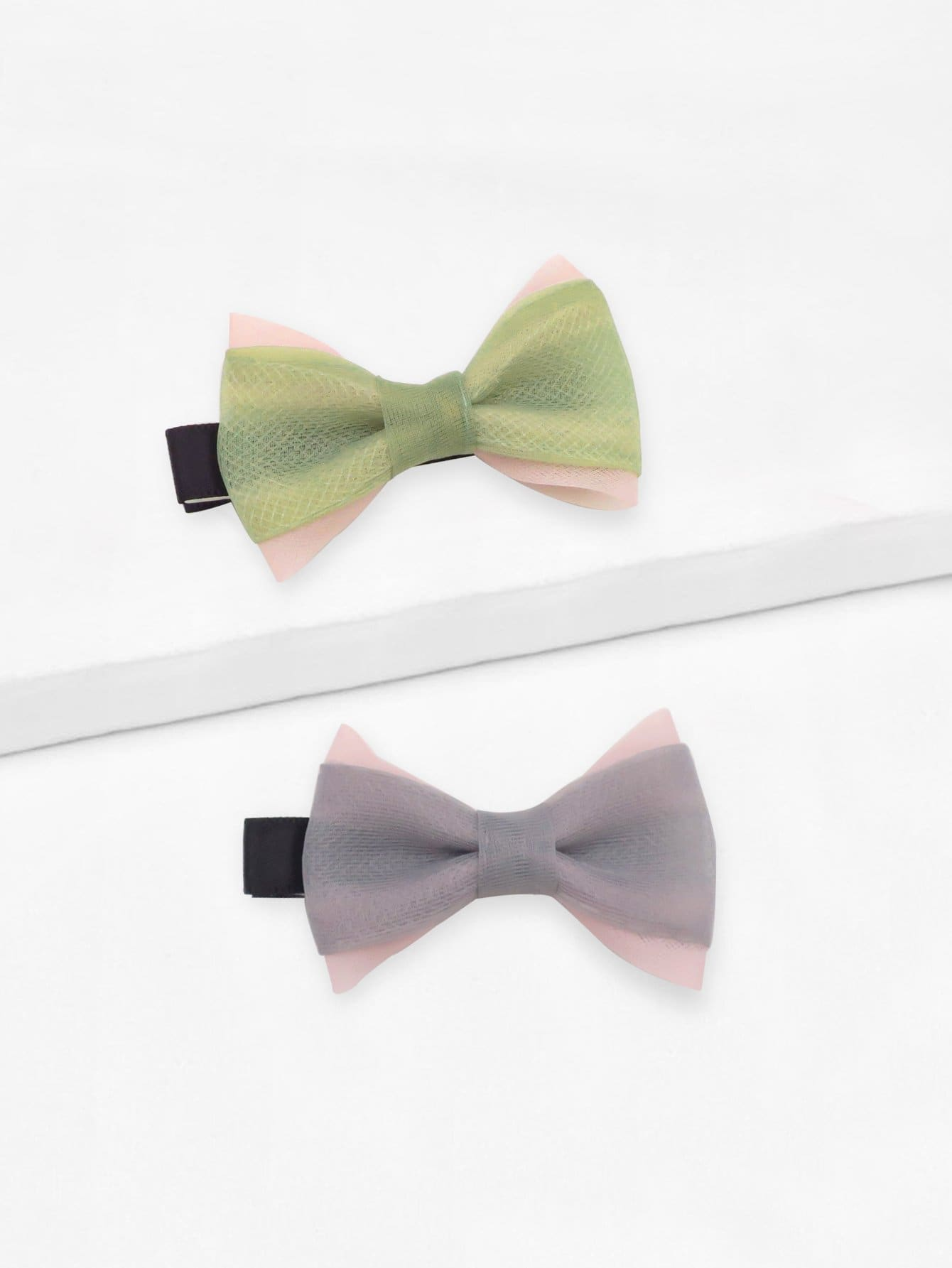 Купить Bow Shaped Hair Clip 2pcs, null, SheIn