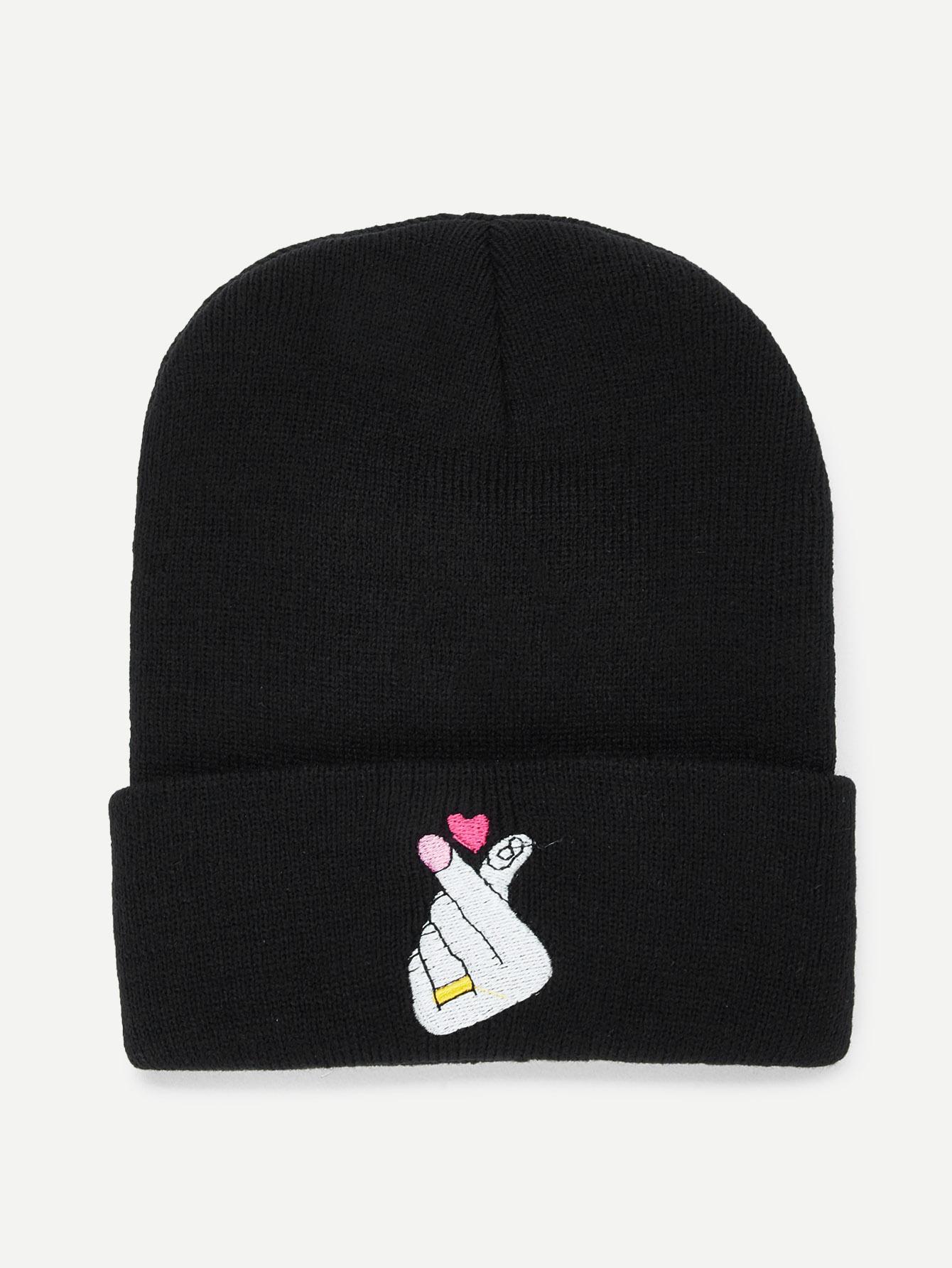 Купить Beanie Шляпа и с рисунками сердей вышивки, null, SheIn