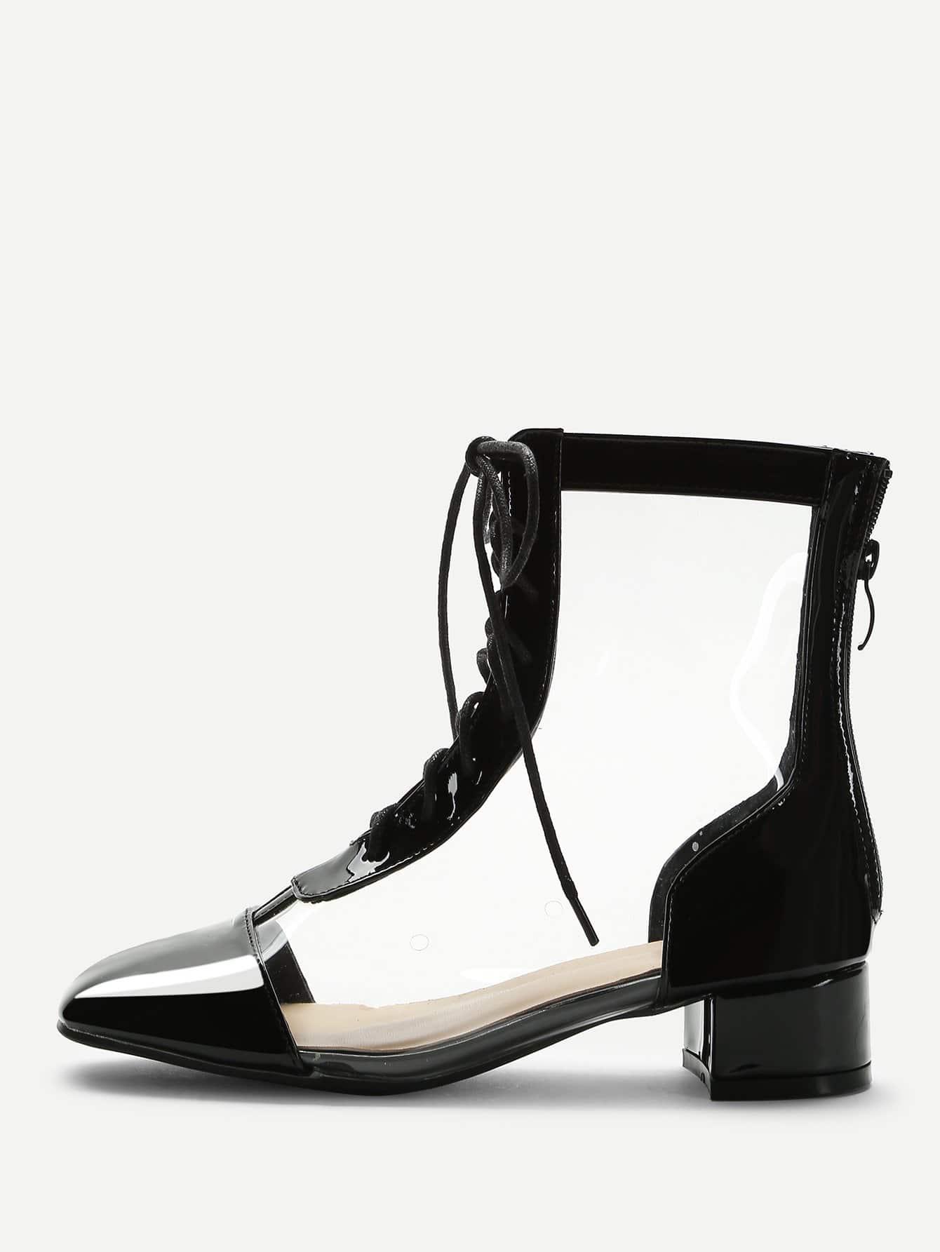 Прозрачные PVC сапоги и с шнурками, null, SheIn  - купить со скидкой