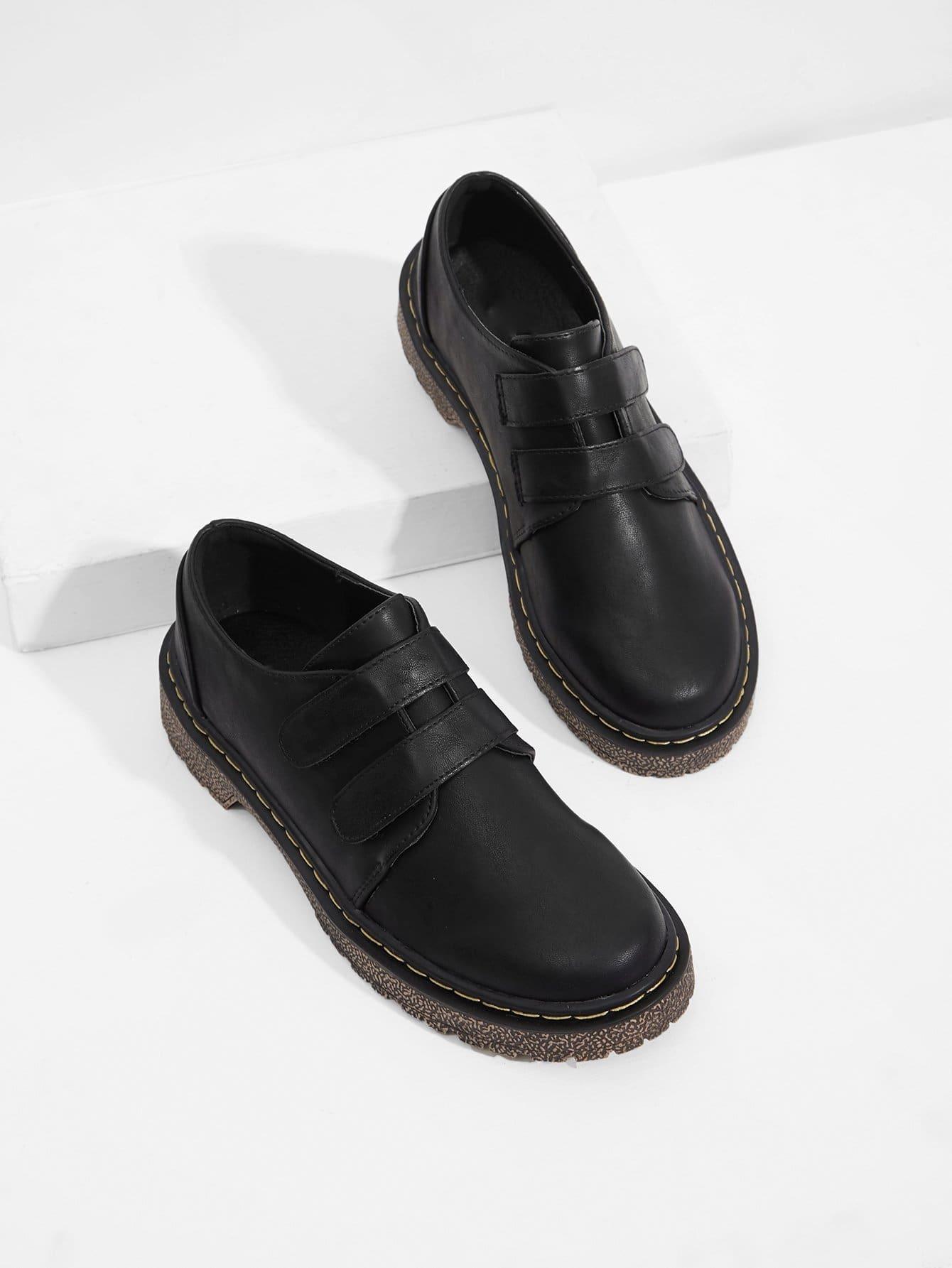 Купить Туфли на плоской подошве и с украшением нейлоновой застёжки, null, SheIn