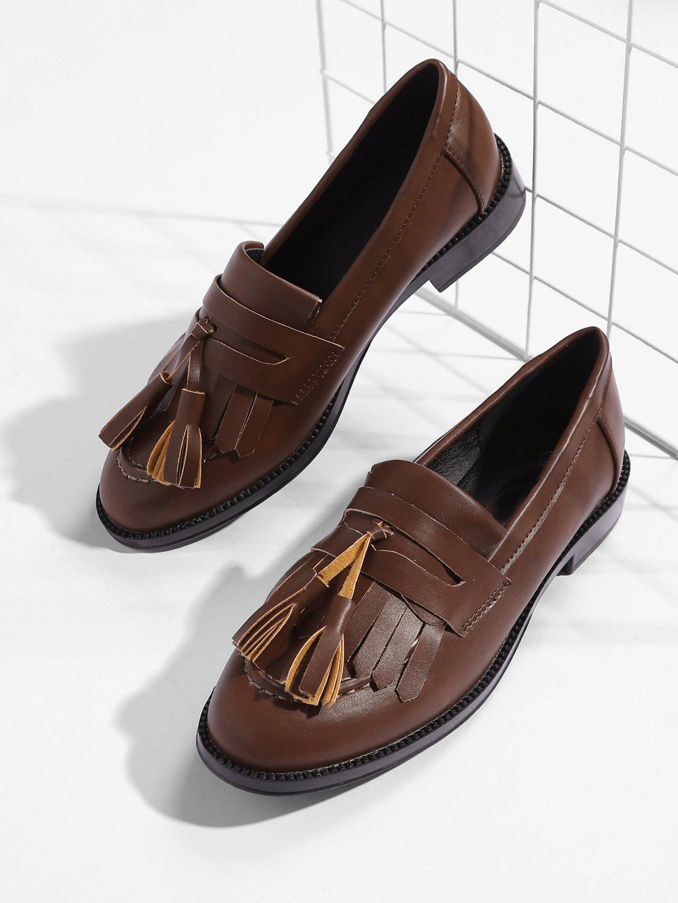 Купить PU Туфли на плоской подошве и с украшением кисти, null, SheIn