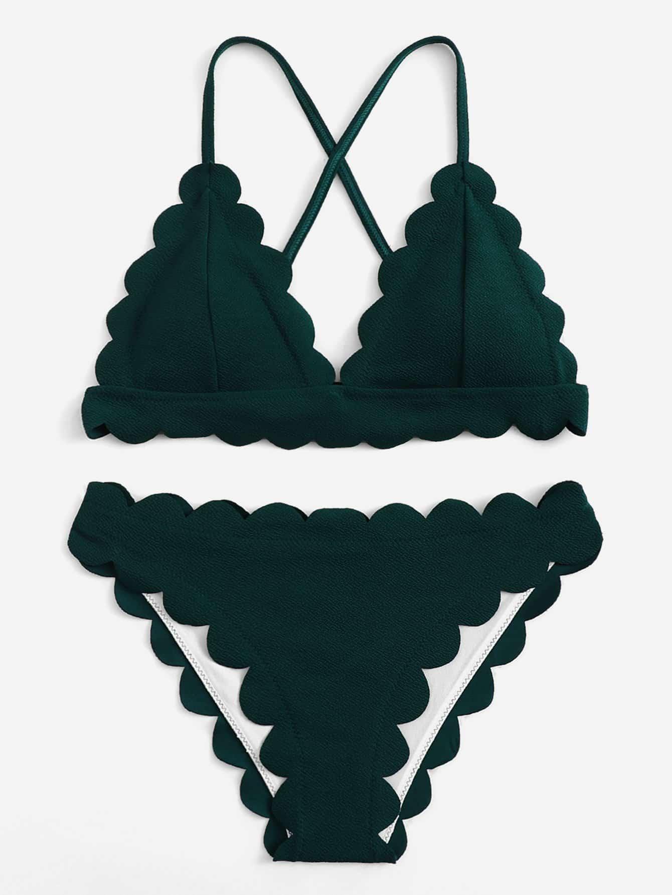 Criss Cross Scalloped Trim Bikini Set