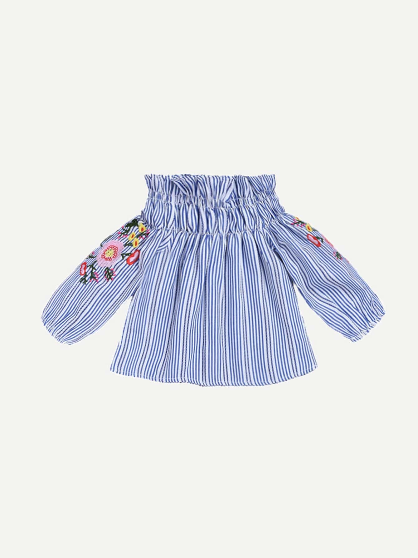 Girls Embroidery Detail Striped Off Shoulder Blouse