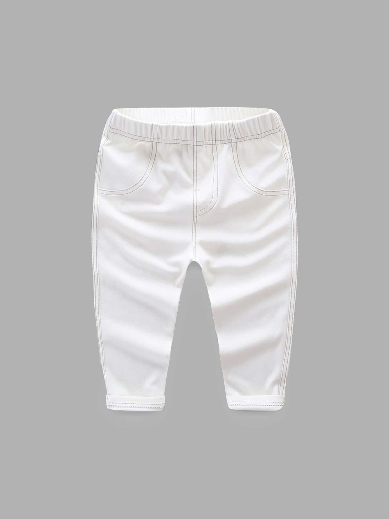 Купить Простые джинсы и рольный подол для девочки, null, SheIn
