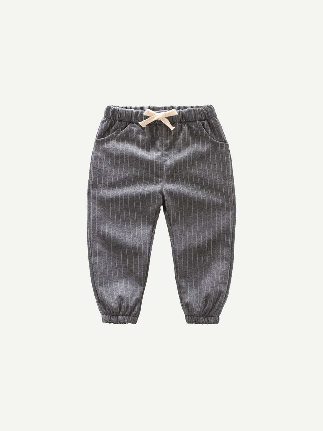 Boys Knot Front Striped Pants
