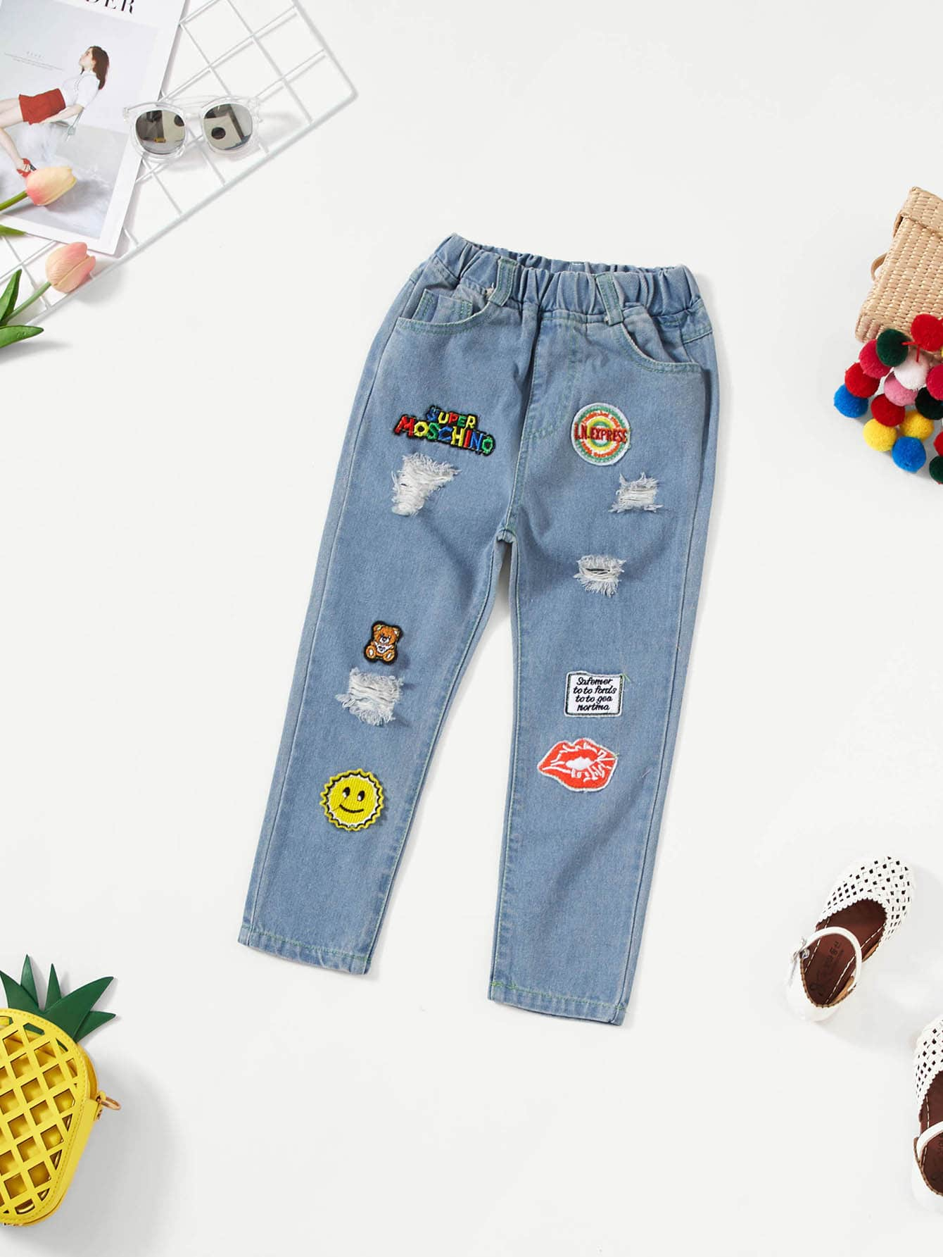 Girls Embroidery Detail Patched Jeans
