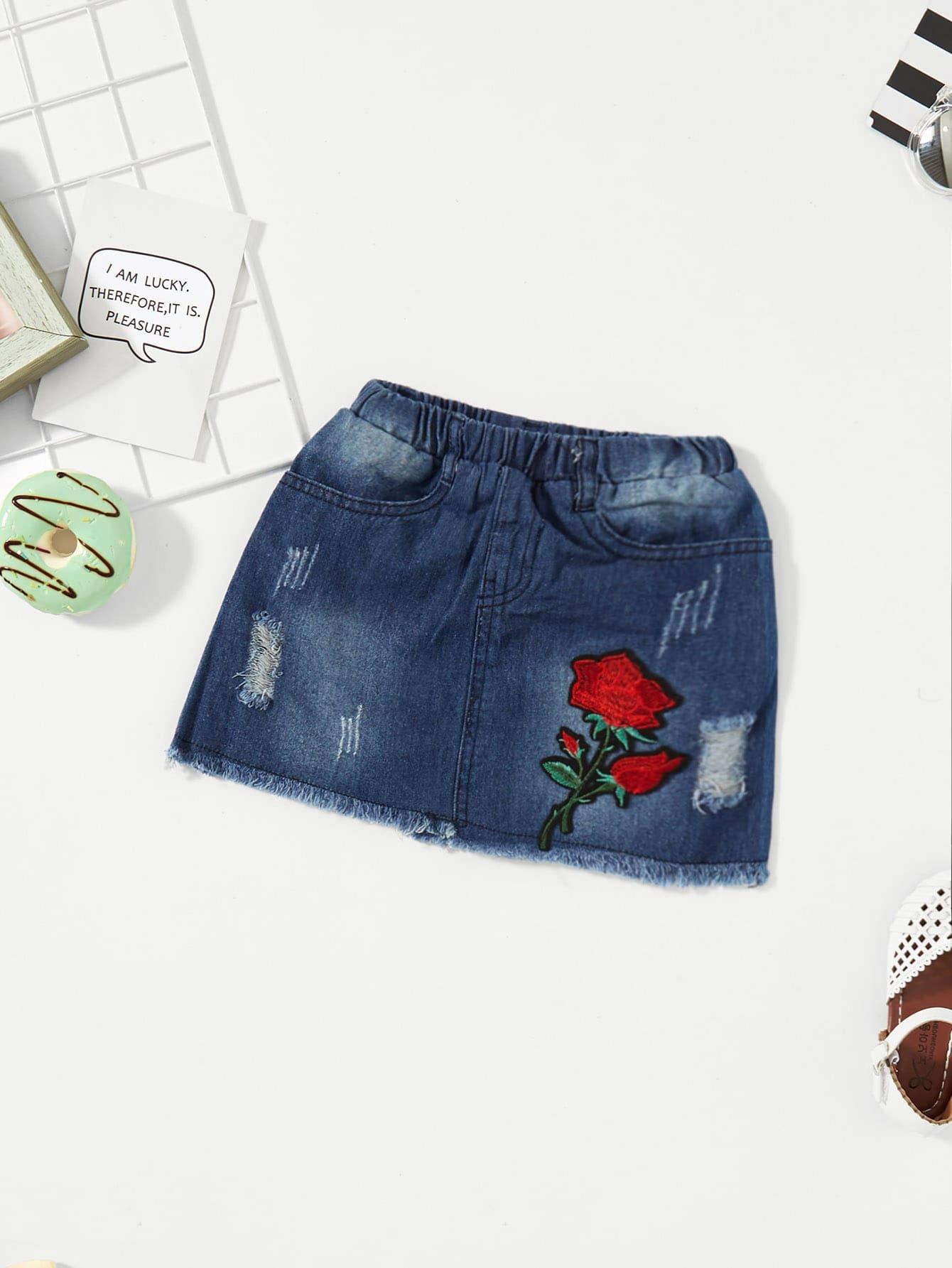 Джинсавая юбка и с рисунком вышитой розы и рольный подол для девочки, null, SheIn  - купить со скидкой