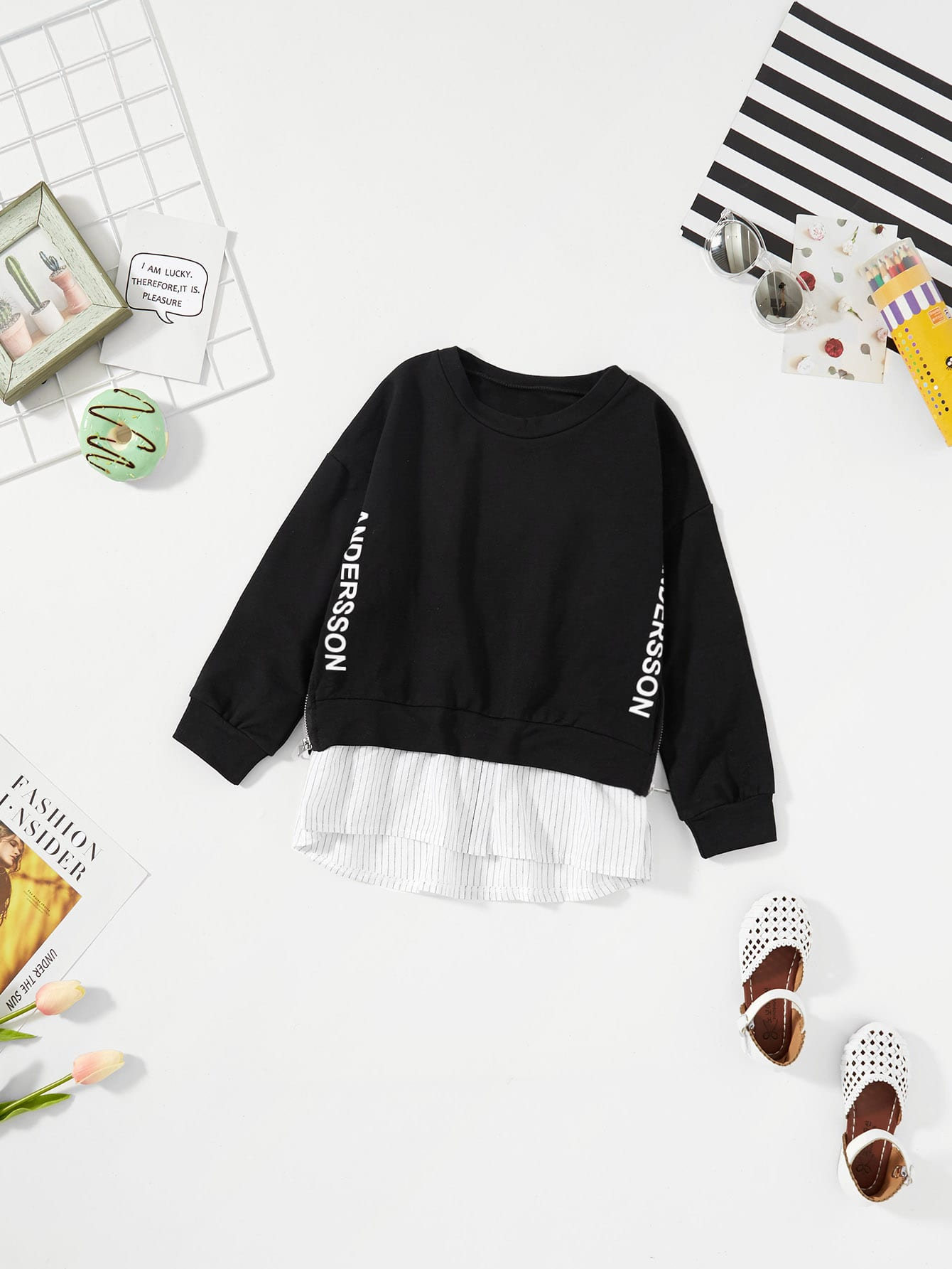 Mädchen 2 In 1 Sweatshirt mit Buchstabenmuster