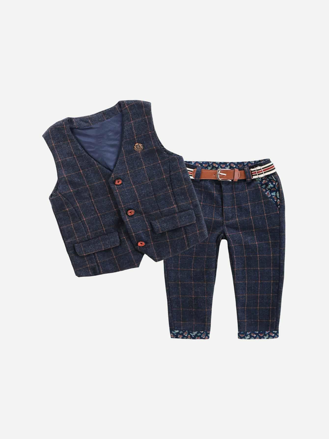 Блузка в клетку и брюки для мальчика, null, SheIn  - купить со скидкой