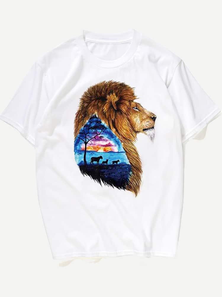 Купить Футболка и с рисунком лева для мужчины, null, SheIn