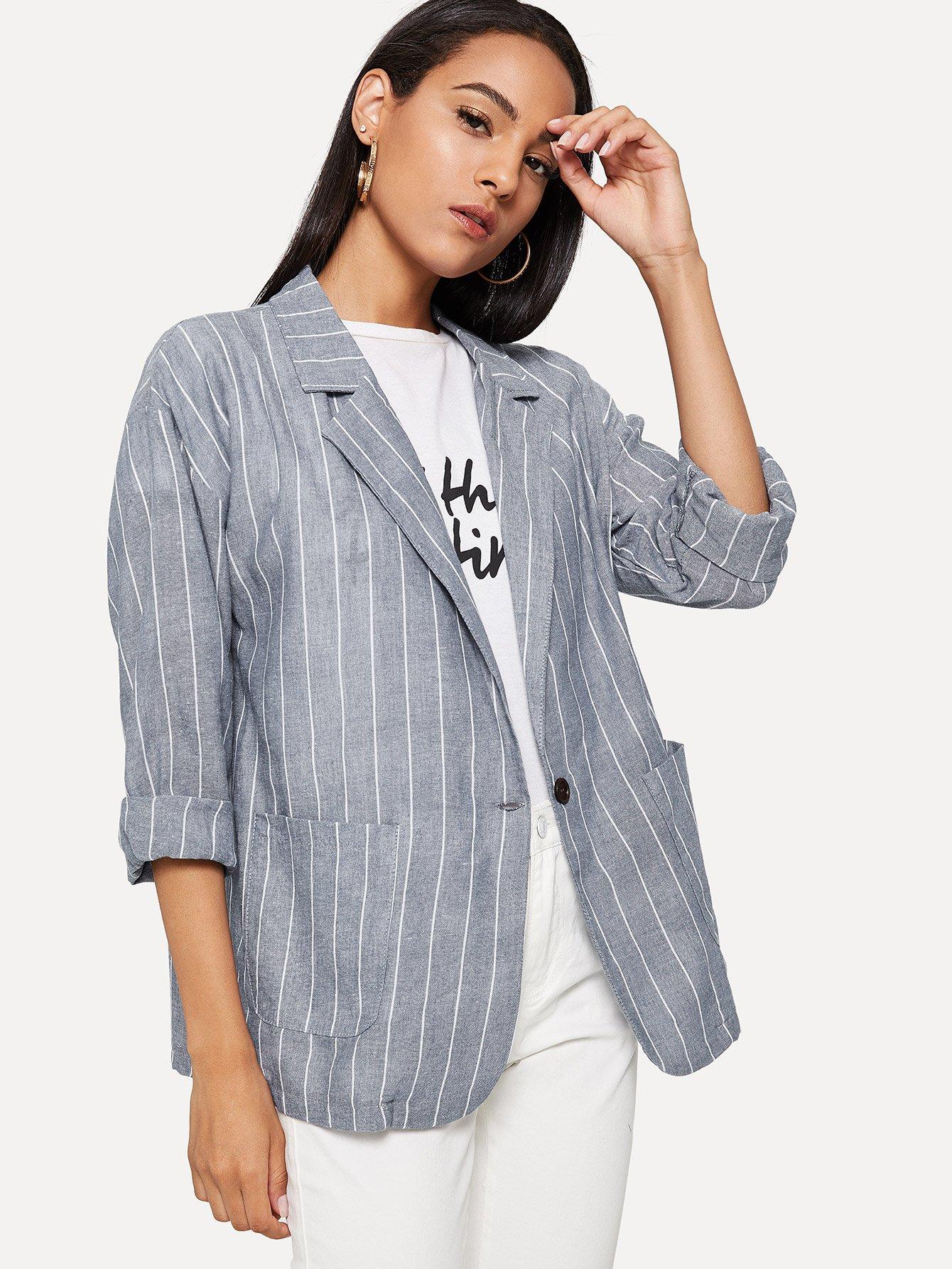Подолсатый пиджак и с украшением двух кармана, Kary, SheIn  - купить со скидкой
