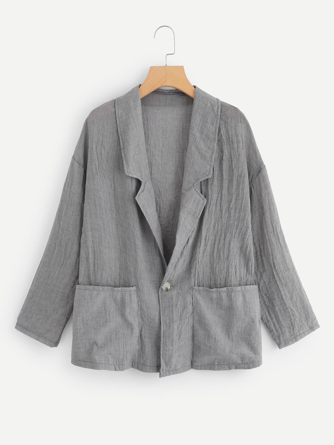Купить Пиджак с падениями плеча и с украшением двух кармана, null, SheIn