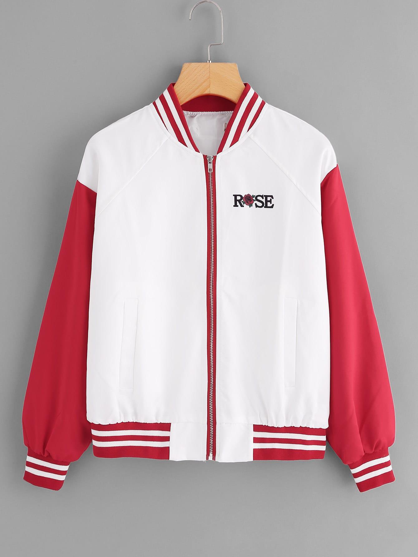 Color Block Rose Print Jacket