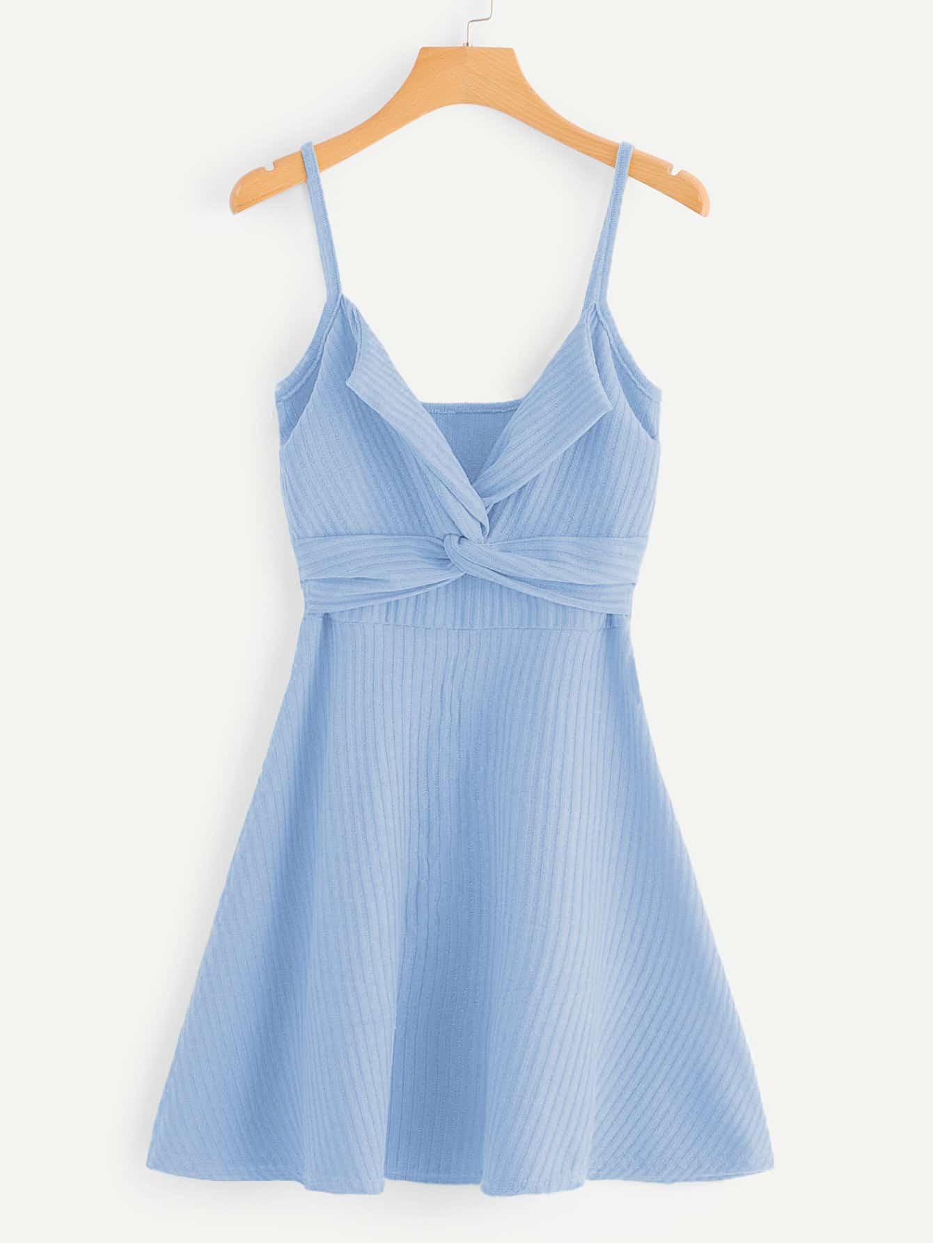 Twist Front Knit Cami Dress