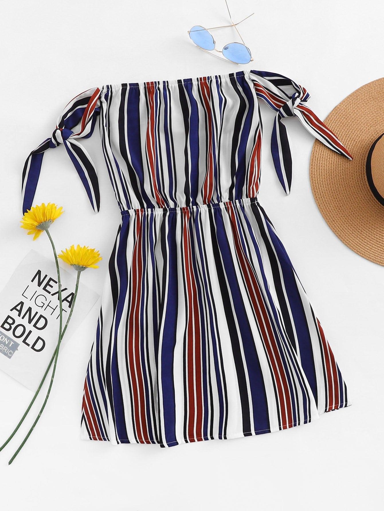 Bardot Self Tie Sleeve Elastic Waist Dress