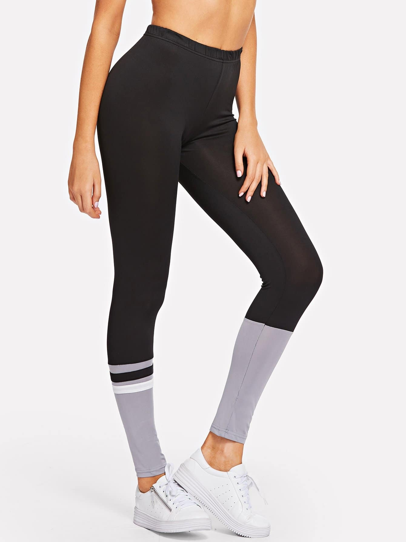 Color Block Striped Skinny Leggings