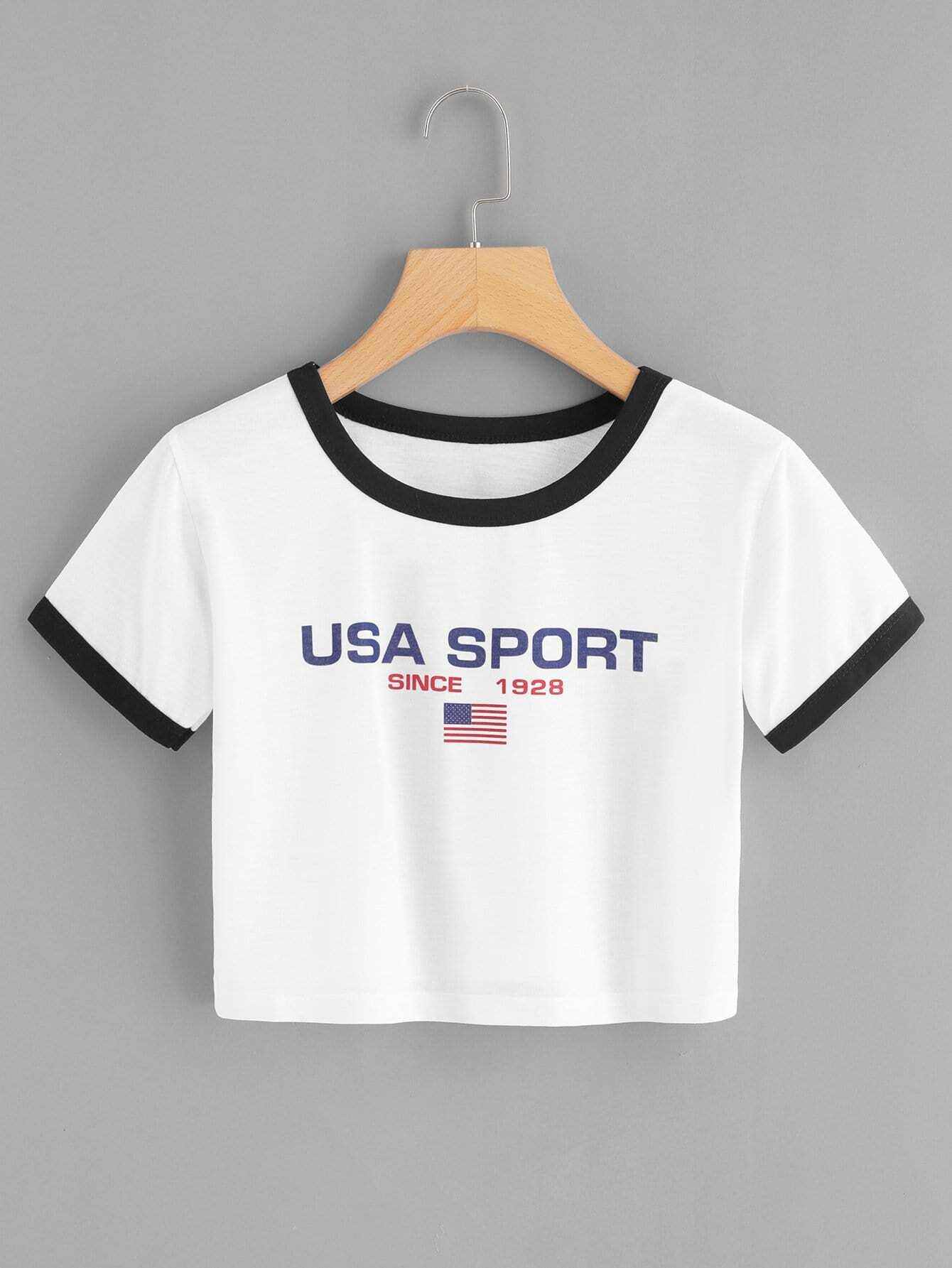 T-Shirt mit amerikanischem Flaggemuster