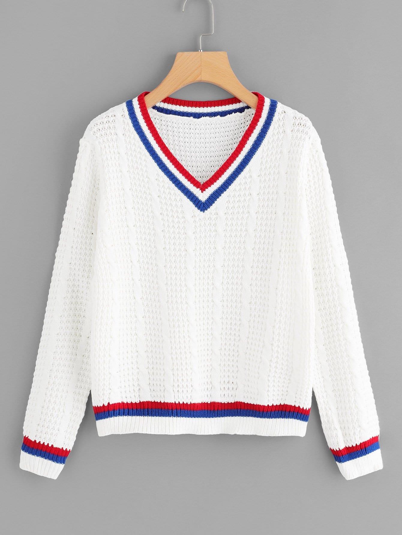 V Neckline Striped Cable Knit Sweater