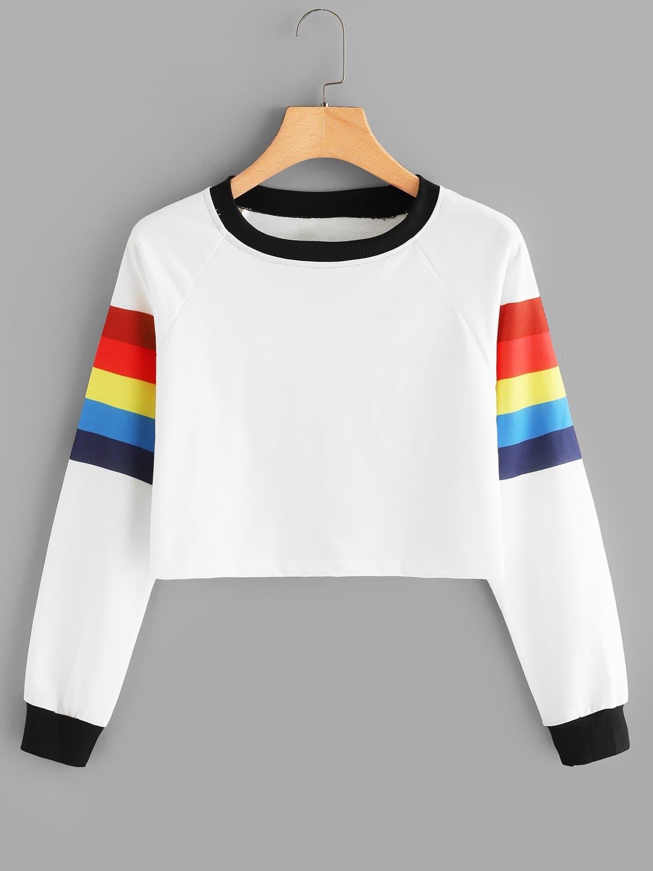 Contrast Trim Color Block Sweatshirt