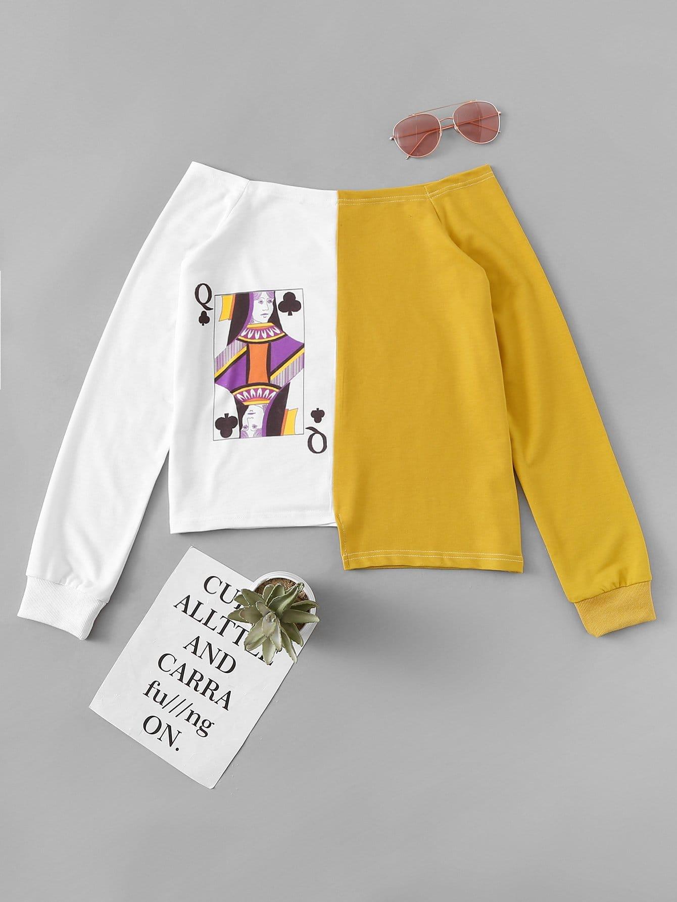 Купить Спортивная футболка и без бретелек и асимметричный подол, null, SheIn