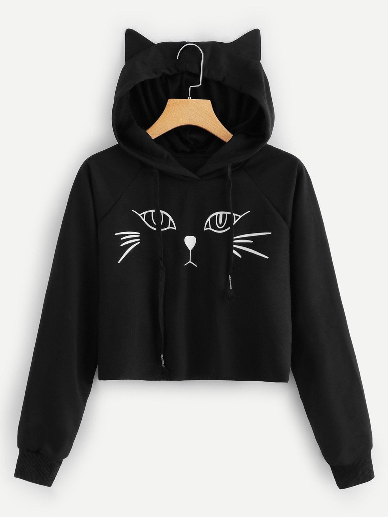 Купить Пуловер с капюшоном и с рисунком кота, null, SheIn