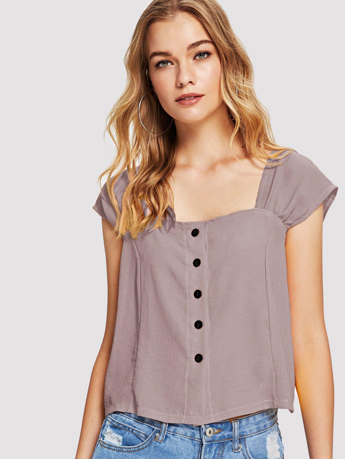 Купить Повседневный Одноцветный Пуговица Розовый Блузы+рубашки, Teresa, SheIn
