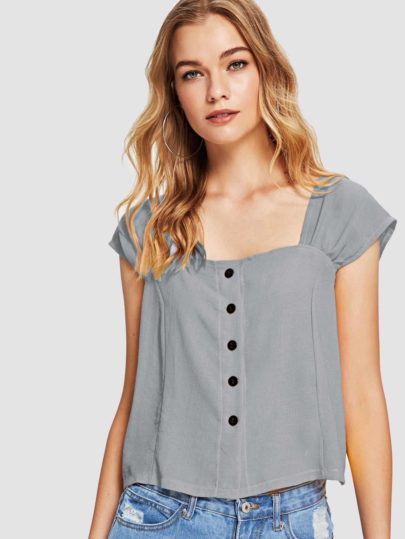 Купить Повседневный Одноцветный Пуговица Серый Блузы+рубашки, Teresa, SheIn