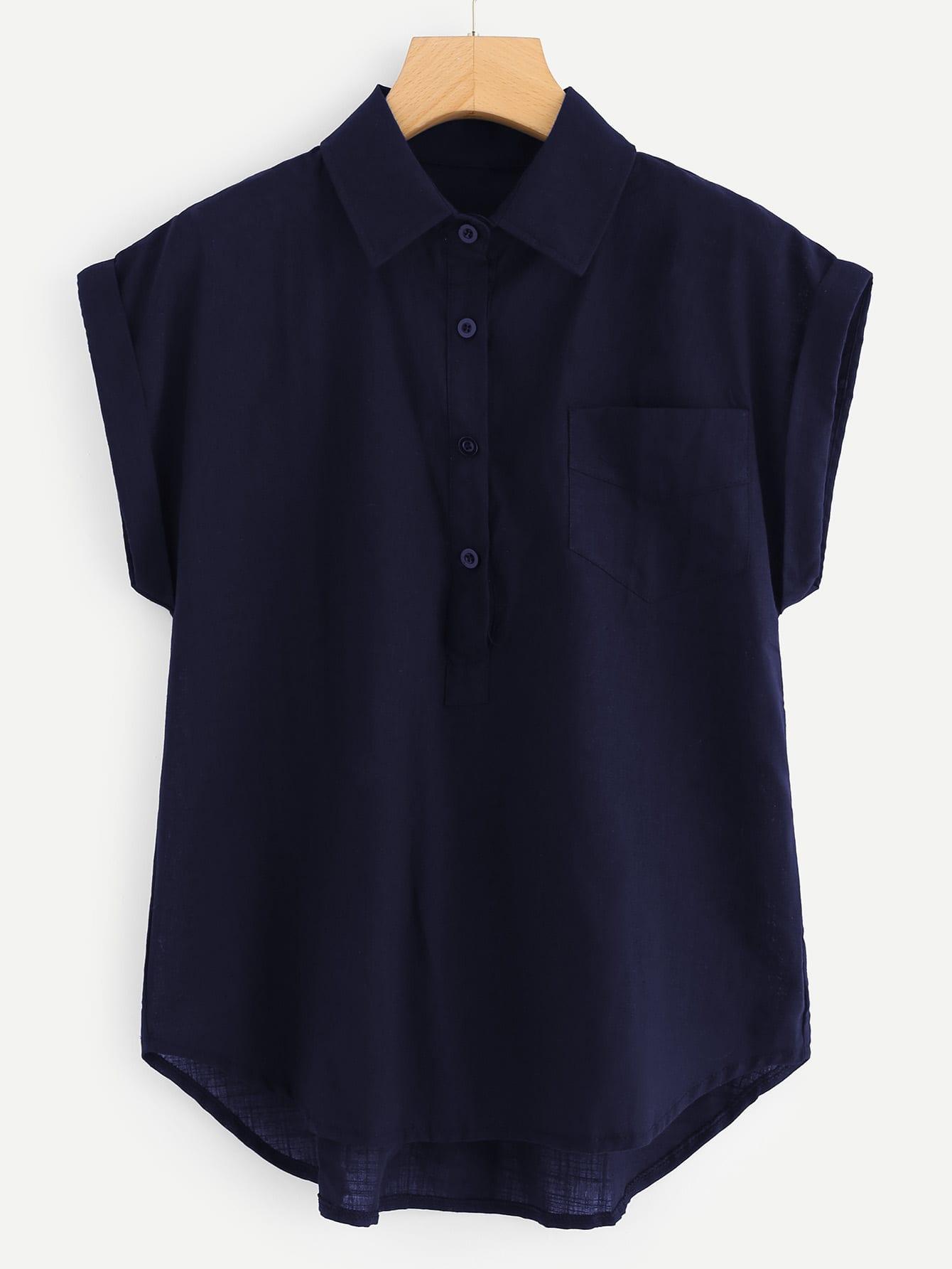 Купить Повседневный Одноцветный Пуговица Темно синий Блузы+рубашки, null, SheIn
