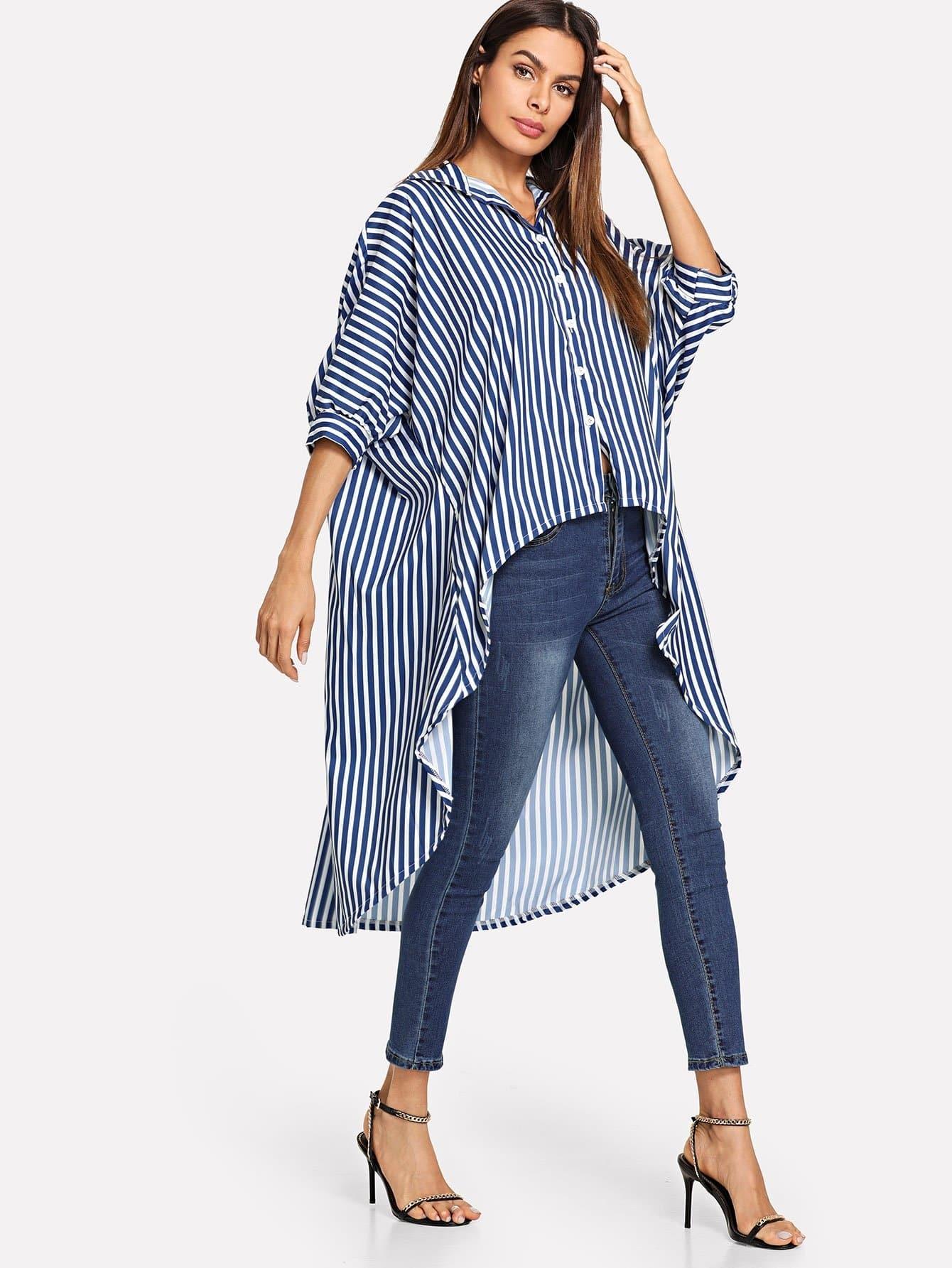 Купить Повседневный Полосатый Пуговица Многоцветный Блузы+рубашки, Andy, SheIn