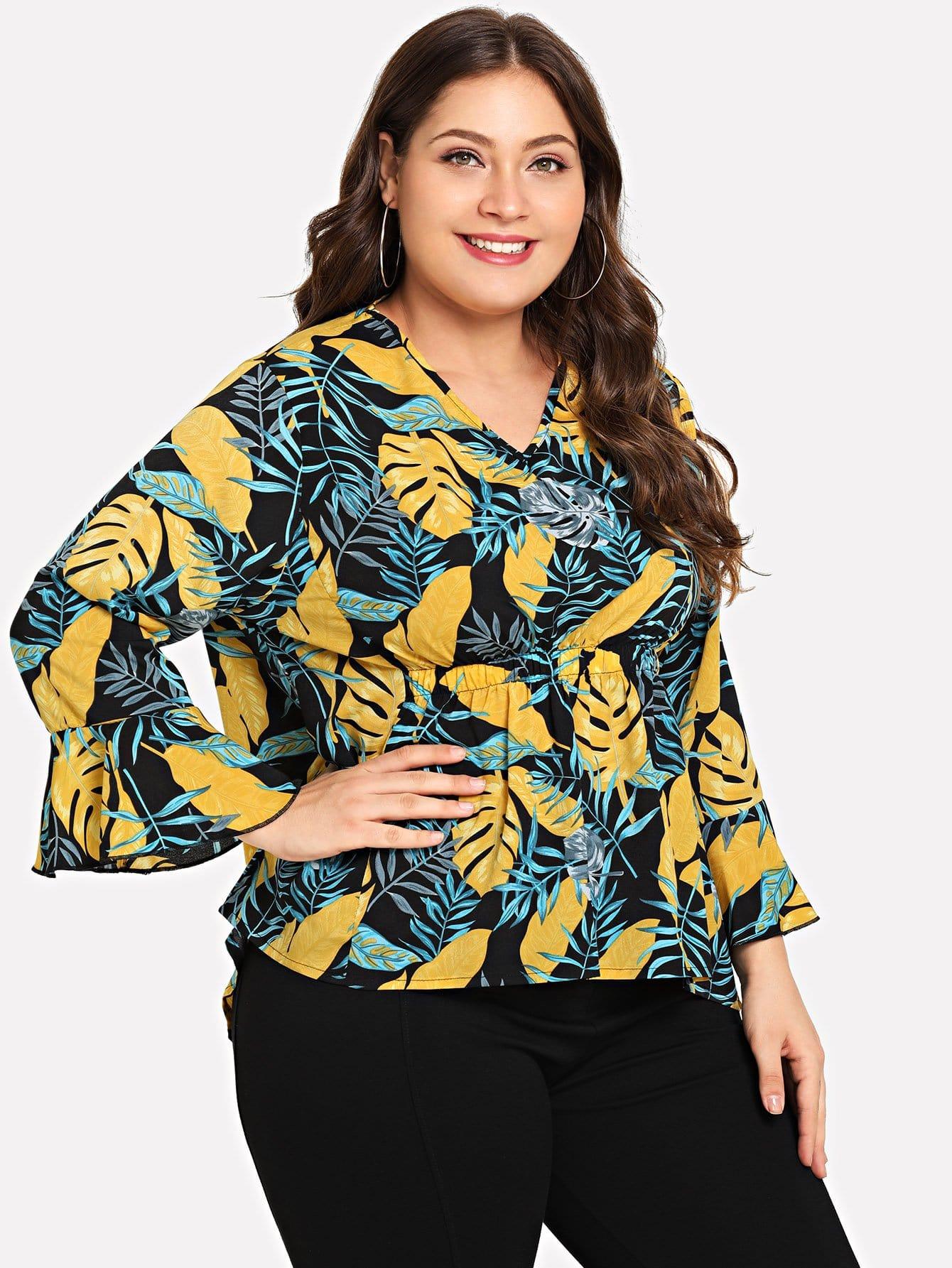 Купить Большая блузка и с рисунком пальмы и с басоном эластичным, Carol, SheIn