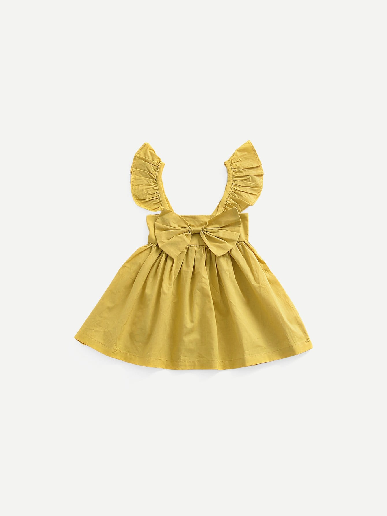 Girls Shirred Bow Decoration Plain Dress