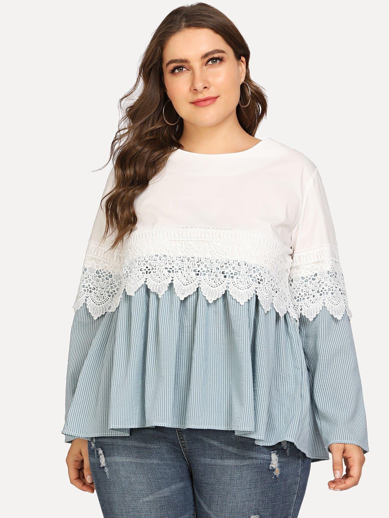 Купить Большая полосатая блузка и подол с розеткой, Franziska, SheIn