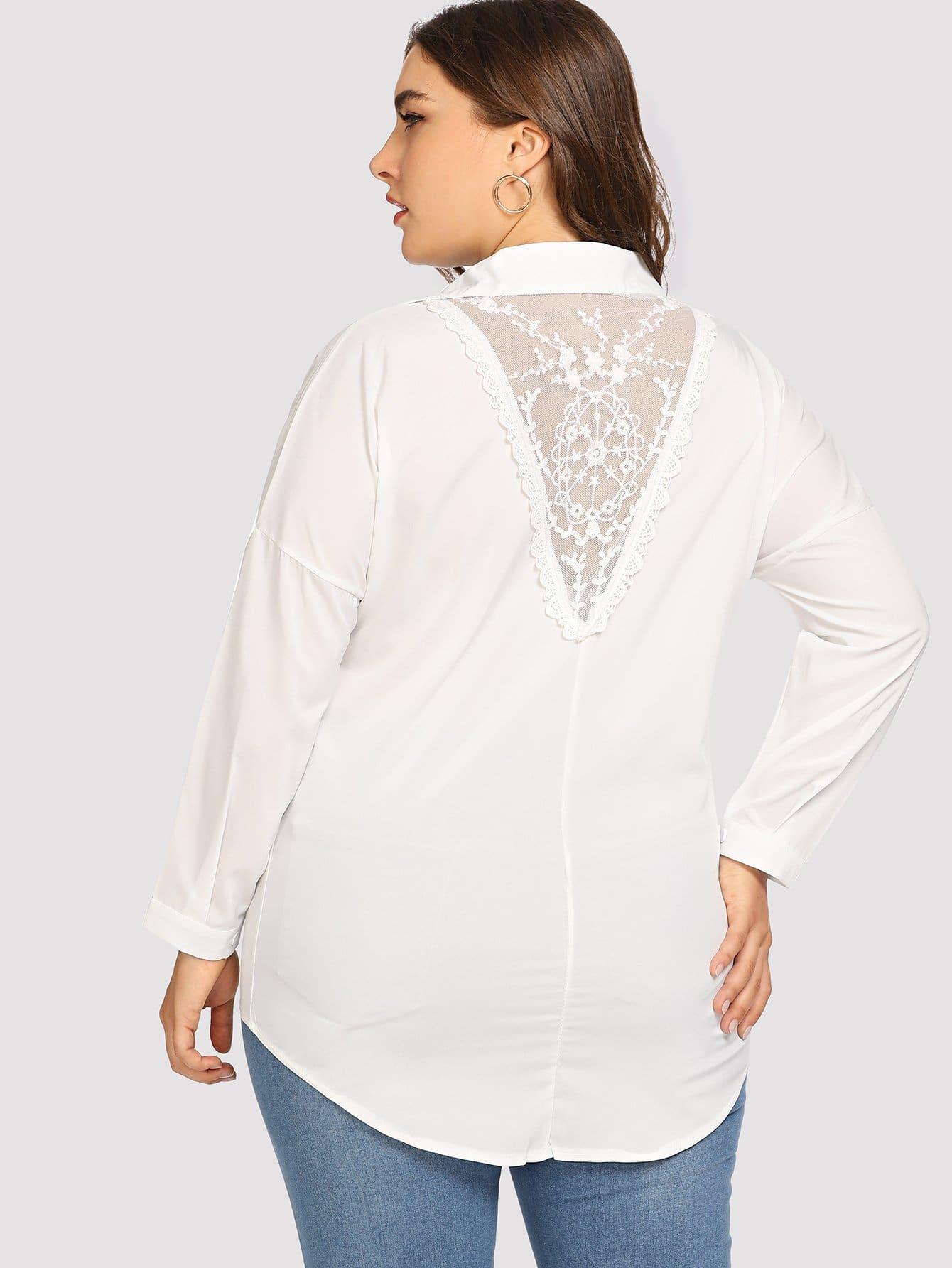 Купить Большая простая блузка и со симметрическими кружевами, Franziska, SheIn