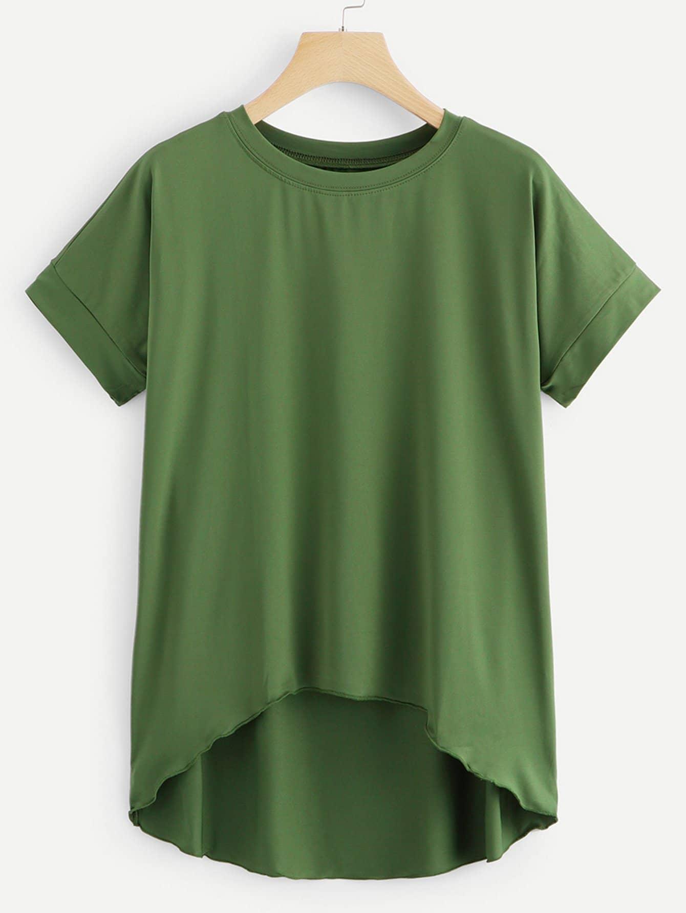Зелёная модная асимметричная футболка, null, SheIn  - купить со скидкой