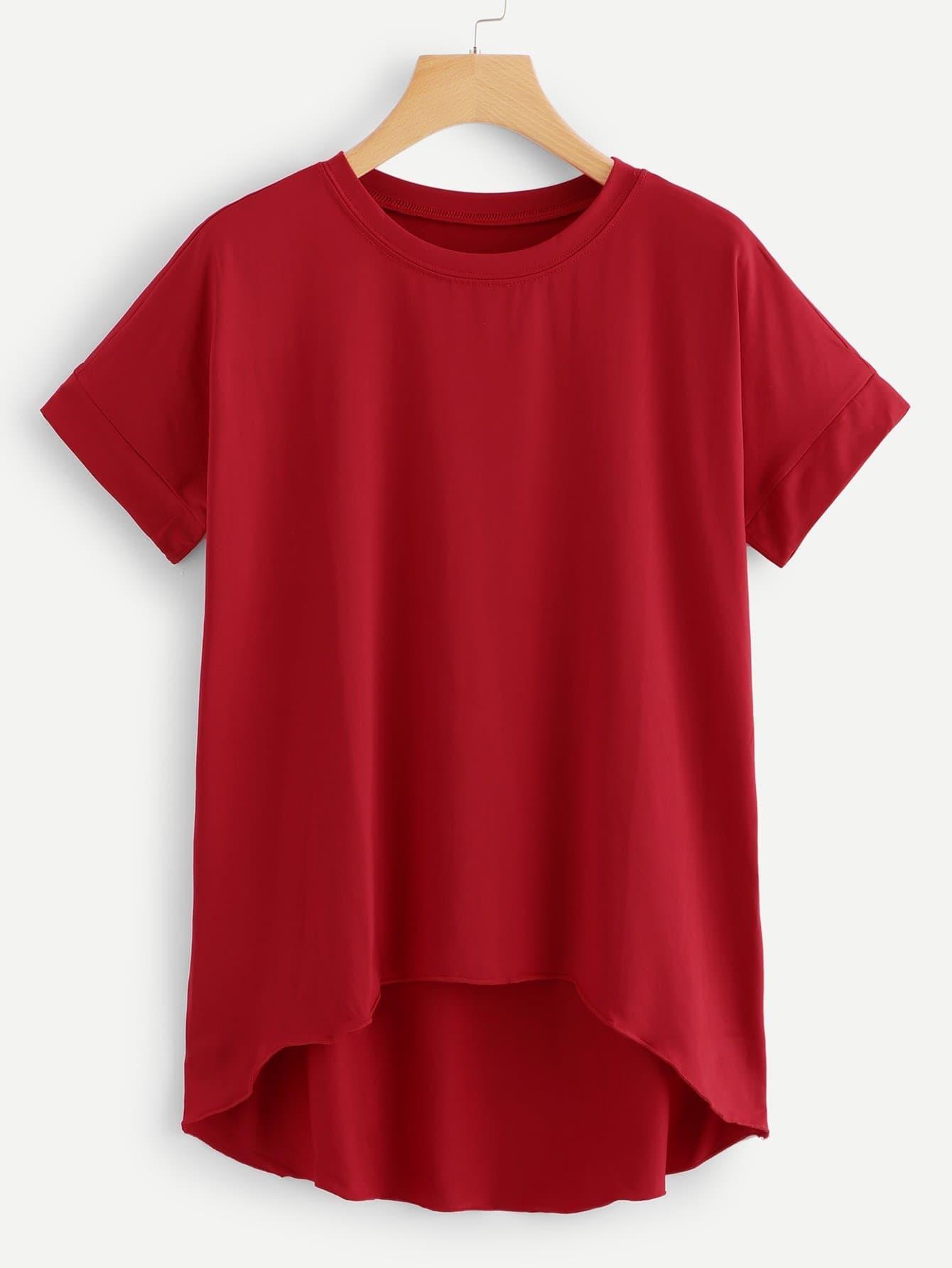 Купить Бордовая модная асимметричная футболка, null, SheIn