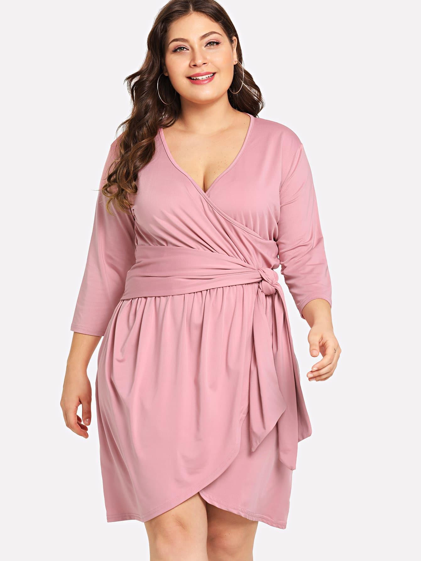 Plus Surplice Front Wrap Dress