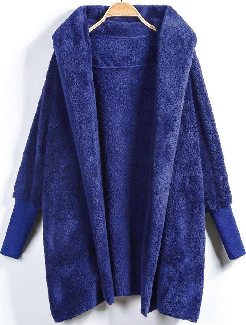 Купить Открытой передней пушистое тедди пальто с каюшоном, null, SheIn