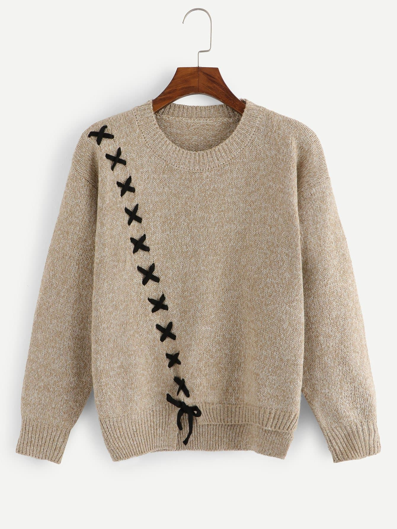 Lace Up Asymmetrical Sweaters varta аккумулятор agm ytx9 bs