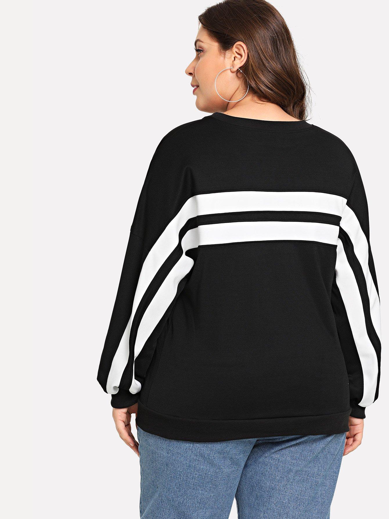 Купить Большая тонкая-полосатая спортивная футболка и с падениями плеча, Carol, SheIn