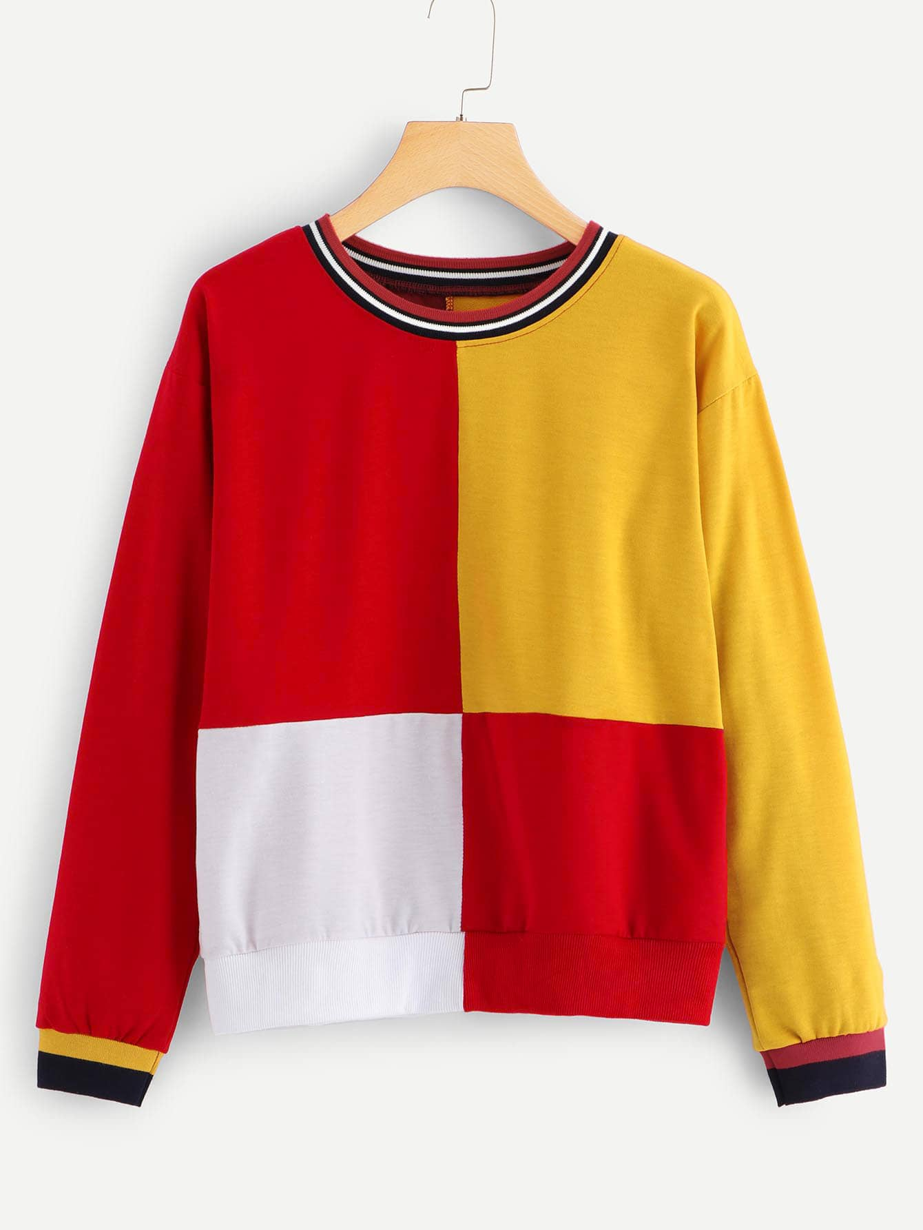 Colorblock Contrast Trim Sweatshirt